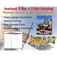 Roadsafe Instant 2.0m x 2.5m Awning Ripstop Canvas & Aluminium Frame - SB617