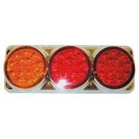COAST LED COMBO LAMP AMBER/RED/RED-CHROME HOUSING. 26012ARR
