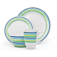 Melamine Dinner Set 16 Piece with Larger Mugs - 4 Person Setting - Seabreeze
