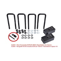 4WD - SUSPENSION LIFT BLOCK KIT - REAR - 45mm WITH BUILT IN ALIGNMENT WEDGE & M14x62x185 U-BOLTS & BRAKE RELOCATOR